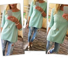 Loose Pullover Three Quarter Tops Blouse