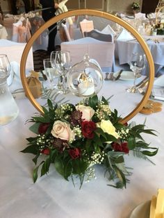 Floral hoop centre pieces to hire. These table centre hoops are great as wedding decorations. Ask your florist to decorate them with flowers that match your theme and bouquet! Beach Wedding Centerpieces, Wedding Table Centerpieces, Diy Wedding Decorations, Floral Centerpieces, Floral Arrangements, Centrepieces, Table Centre Pieces Wedding, Floral Hoops, Party Decoration