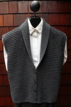 Mari Sweaters MS 196 Classic Shawl Collar Vest pattern by Mari Dembrow Knit Vest Pattern, Sweater Knitting Patterns, Knitting Designs, Love Knitting, Knitting Blogs, Crochet Men, Madame, Knits, Cardigans