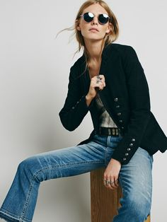 Free People Structured Washed Blazer