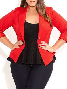 Solid Color Plus Size Stylish Lapel Neck 3/4 Sleeve Blazer For Women