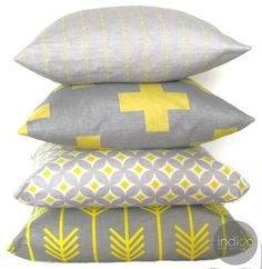 Yellow and grey cushion collection