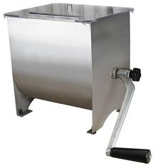 This Weston Products stainless steel meat mixer makes mixing ground meat easy. Put the seasonings, water and meat into the hopper and turn the handle. Make Your Own Burger, Cooler Box, Stainless Steel Kitchen, Work Surface, Kitchen Tools, Kitchen Utensils, Home Decor Accessories, Household Items, Home Kitchens