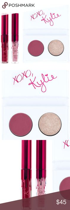 Kylie Smooch Mini Kit Authentic new PRICE IS FIRM!  The #KylieCosmetics Smooch Mini Kit is the perfect way to take your favorite Valentine's Day goodies to go. Each kit comes with 4 mini size of Kylie's favorite shades packaged in special limited edition red packaging in honor of Valentine's Day.  Kyshadow: ❤️Poison Berry (matte deepened berry) ❤️In Love (metallic opalescent pink)  Matte Liquid Lipstick & Gloss: ❤️Gorg (red burgundy wine) ❤️Damn Gina (soft shimmering peachy-pink gloss) Kylie…