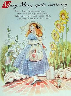 Mary, Mary Quite Contrary --> Illustration portrays all aspects within the nursery rhyme through the images that have been used