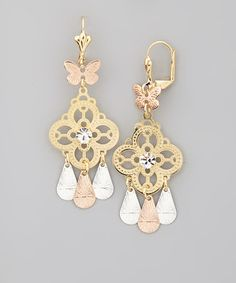 Another great find on #zulily! Tricolor Filigree Clover Drop Earrings #zulilyfinds