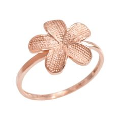 10k Rose Gold Hawaiian Plumeria Flower Ring (Size 12). intricately designed hawaiian plumeria flower band. exquisitely handcrafted with 10 karat rose gold (pink gold) in stunning polished finish. comes with free special gift packaging. made in the USA yet offered at factory direct jewelry price. ships from the manufacturer directly to the customers.