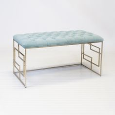 Devin Silver Leafed Bench w. Seafoam Tufted Top via Worlds Away