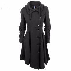Hot Fashion Look! Women's Elegant Asymmetrical Long Sleeve Single-Breasted Designer Winter Coat S-2XL