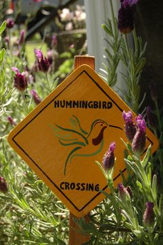 Hummingbird Crossing garden sign  via Etsy.