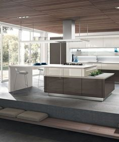 #kitchen with island IDEA 40 by Snaidero | #design Pininfarina @Snaidero Cucine http://www.archiproducts.com/en/products/60493/idea-kitchen-with-island-without-handles-idea-40-snaidero.html