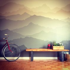 wonder if vern would let me do this? Rustic Nursery, Nursery Decor, Room Decor, Mountain Mural, Mural Wall Art, Room Themes, Bedroom Wall, Home Decor Inspiration, Home Projects
