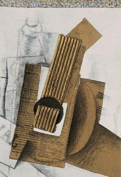 George Braque, La Mandolina, 1914. Acuarela, gouache, papier collé imitando madera y cartón ondulado,48,3 x 31,8 cm