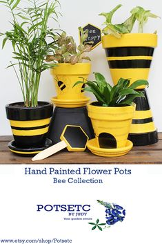 The new collection has arrived, The Collection. Stop by and see the flower pots, stakes and Clay Pot Projects, Clay Pot Crafts, Bee Crafts, Garden Crafts, Painted Clay Pots, Painted Flower Pots, Bee Skep, Bee Hives, Flower Pot Crafts