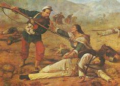 Infantería chilena remata heridos al finalizar la batalla de Huamachuco, 1883
