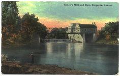 Emporia Kansas Postcard Sodens Mill and Dam by VintageBarrel, $8.00