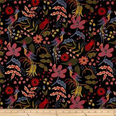 Cotton   Steel Rifle Paper Co. Les Fleurs Canvas Folk Birds Black from @fabricdotcom  Designed by Rifle Paper Co. for Cotton   Steel, this medium weight (6 oz./square yard) cotton canvas fabric is perfect for tote bags, toss pillows, window treatments, apparel and more. Colors include red-orange, green, periwinkle, pink, brown, natural and black.