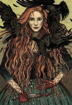 Deusa Morrigan (Goddess Morrigan), Deusa Celta da batalha, conflito e fertilidade. Está associada a um corvo.