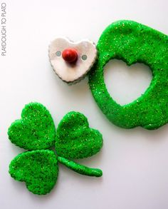 Super glittery, squishy St. Patrick's Day playdough. Awesome homemade playdough recipe.