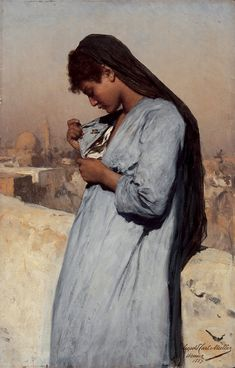 Leopold Carl Müller Egyptian Girl with Butterfly, Oil on canvas. Old Paintings, European Paintings, Classical Art, Thing 1, Egyptian Art, Art Studies, Art Pages, Dresden, Figure Painting