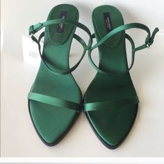 Zara Satin Heels Gorgeous green satin heels. I purchased but then hurt my back so I never wore them. My loss is your gain. Zara Shoes Heels