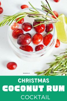 This White Christmas Cocktail is a delicious coconut rum drink, and we garnished it with cranberries and rosemary. #CoconutRumCocktail #Myturnforus #WhiteChristmasCocktail #CoconutRumDrink #ChristmasRumcocktail #CoconutRumBeverage Rum Martini Recipe, Martini Recipes, Cocktail Recipes, Drink Recipes, Christmas Martini, Christmas Cocktails, White Christmas, Best Christmas Recipes, Holiday Recipes