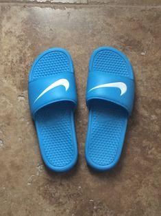 6e6e24c68 NIKE vivid blue Benassi slides on We Heart It