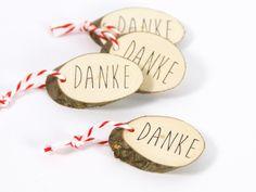 Danksagungskarten - 10 Danke Geschenkanhänger aus Holz - ein Designerstück von Ringelspatz bei DaWanda