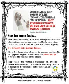 A recent meme... vaccinations do NOT cause cancer. Pinned by RtAVM https://www.facebook.com/RtAVM