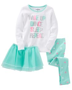 OshKosh B'Gosh Baby Girls' Wake Up Dance Sleep Repeat 3 Pc Pajamas Months). Cotton PJs are not flame resistant. To help keep children safe, cotton PJs should always fit snugly. Little Girl Fashion, Kids Fashion, Toddler Girl Outfits, Kids Outfits, Baby Girl Pajamas, Baby Girls, Kids Girls, Kids Pjs, Cotton Pjs
