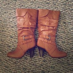 Rue 21 booties Brown Faux Leather booties. Lightly worn. Like new. Make offers. Perfect paired with jeans or dressed up with a skirt. Rue 21 Shoes Heeled Boots