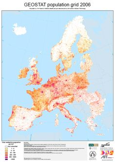 """mxfh: """" How Europe' s Population is actually distributed. GEOSTAT population grid 2006 Direct Link: High Resolution PDF (30MB) from ivie.es """""""