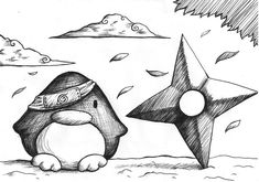 Naruto Penguin by B-Keks Easy Love Drawings, Cool Art Drawings, Art Sketches, Penguin Drawing, Penguin Art, Cute Drawlings, Pencil Drawings Of Animals, Chibi, Bullet Journal Art