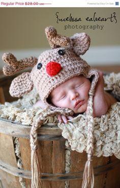 Sale 20 Off Newborn Red Nose Reindeer earflap hat by garysangel