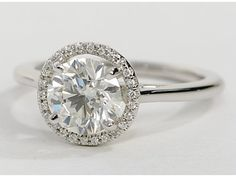 Plain Shank Floating Halo Engagement Ring in 14k White Gold hellloooo beautiful
