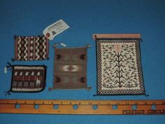 Three Contemporary Miniature Navajo Rug Plus One Leather Print Great Dollhouse