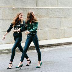 high-waisted skinnies and heels