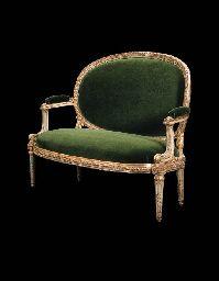 CANAPE A CHASSIS D'EPOQUE LOUIS XVI PAR LOUIS DELANOIS 102 x 135,5 cm. Collection Lagerfeld $ 42,062 (2000)