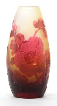 GALLE GLASS CABINET VASE White glass with red cameo overlay in a poppy motif, circa 1900 Engraved: Galle <