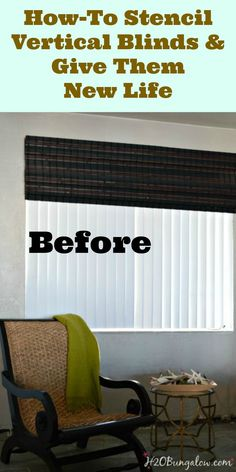 Rather than buy new blinds she used stencils to update these basic vertical blinds.
