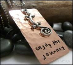 hand stampedcopperenjoy the journeygeckopositive by TaylordMetals, $27.00