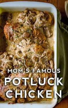 Mom's Famous Potluck Chicken (With images) Turkey Recipes, Meat Recipes, Chicken Recipes, Cooking Recipes, Delicious Recipes, Crowd Recipes, Chicken Ideas, Cooking Games, Cooking Classes