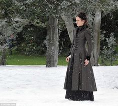 Heroine of the hour: Eva Green wore Victorian period costume which included a bustle and corset