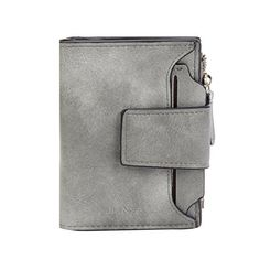 Damara Womens Faux Leather Small Coin Pouch Folded Card Case WalletGrey -- Click on the image for additional details.