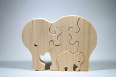 Wooden Puzzle Elephant with baby Gift for Toddlers and Children Personalized…