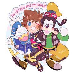 Donald, Sora, and Goofy