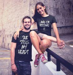 Funny Couple Shirts, Couple Tees, Couple Tshirts, Cute Shirts, Couple Clothes, T Shirts For Couples, Matching Couple Outfits, Matching Couples, Matching Shirts