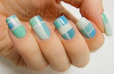 manicurator: 31DC: Day 21 - Inspired by a Color (color block nail art)