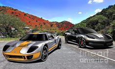 Custom Ford GT and Corvette The Face off,, art prints by Danny Whitfield   Available at http://www.dannywhitfield.com/