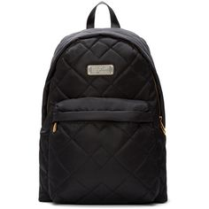 Marc By Marc Jacobs Black Nylon Quilted Crosby Backpack (3,040 MXN) ❤ liked on Polyvore featuring bags, backpacks, black bag, quilted bag, black backpack, zipper bag and black nylon backpack